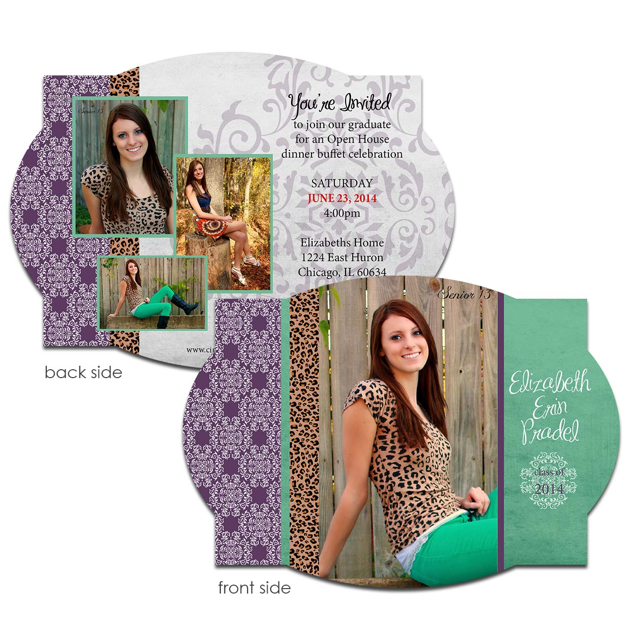 Leopard & Damask Grad Card